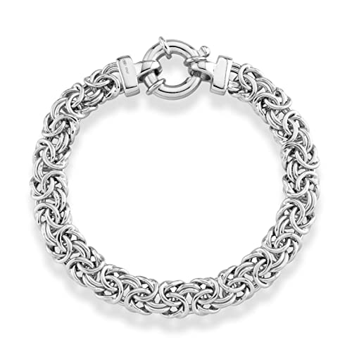 3d70d2d72b440 MiaBella 925 Sterling Silver Italian 9mm Classic Byzantine Chain Link  Bracelet for Women, 7.00