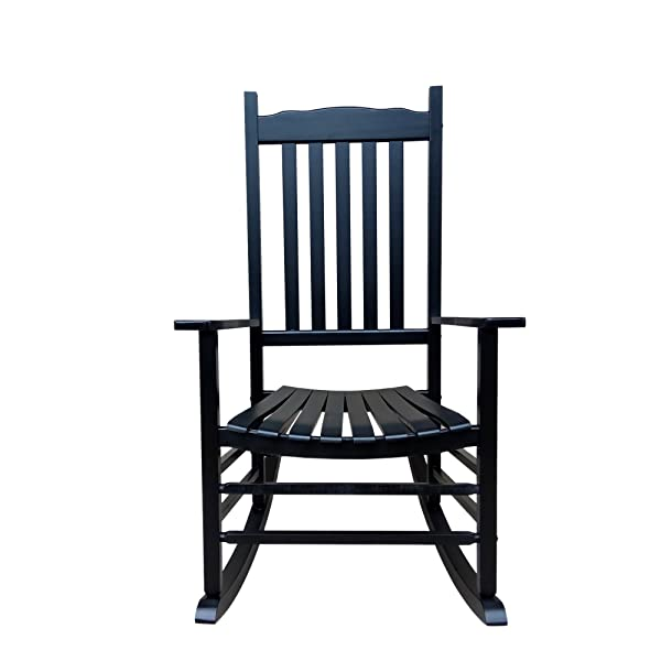 Rockingrocker - A001BK Black Porch Rocker/Rocking Chair - Easy to Assemble - Comfortable Size - Outdoor or Indoor Use
