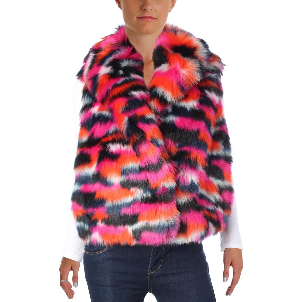 McQ Womens Sleeveless Faux Fur Coat Multi 36