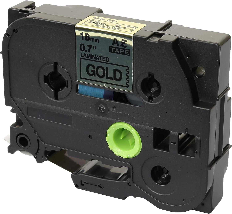 Prestige Cartridge 10 Kassetten TZe-841 TZ-841 schwarz auf gold 18mm x 8m Schriftband kompatibel f/ür Brother P-Touch PT-2030VP 2430PC 3600 9600 D400 D450VP D600VP E300VP E550WVP H300 H500 P700 P750W