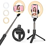 Selfie Ring Light with Tripod Stand and Phone Holder, Mpow LED Ring Light Rechargeable Dimmable Selfie Stick for Makeup, Live