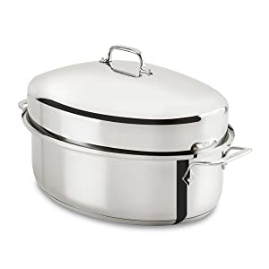 All-Clad E7879664 Stainless Steel Dishwasher Safe Oven Safe Covered Oval Roaster Cookware, 15-Inch, Silver