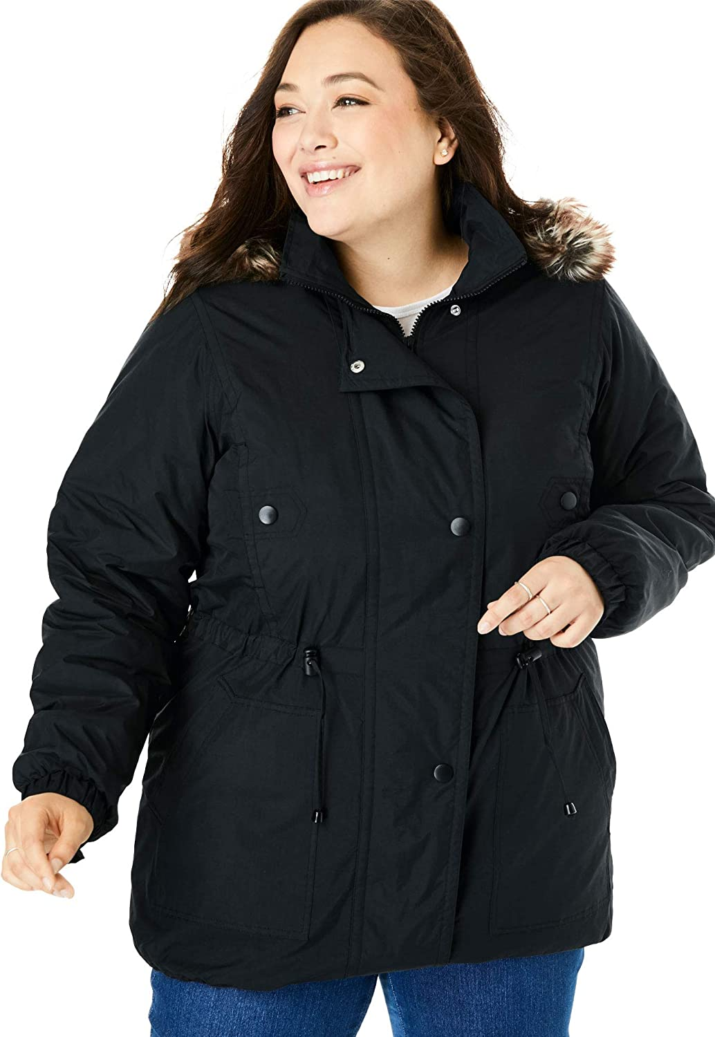 Woman Within Women's Plus Size Quilt-Lined Taslon Anorak