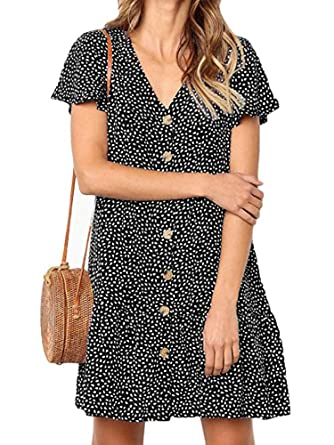8917ac2b737 JOELLYUS Summer Beach Dresses for Women Button Down V-Neck Casual Ruffle  Loose Tshirt Dress