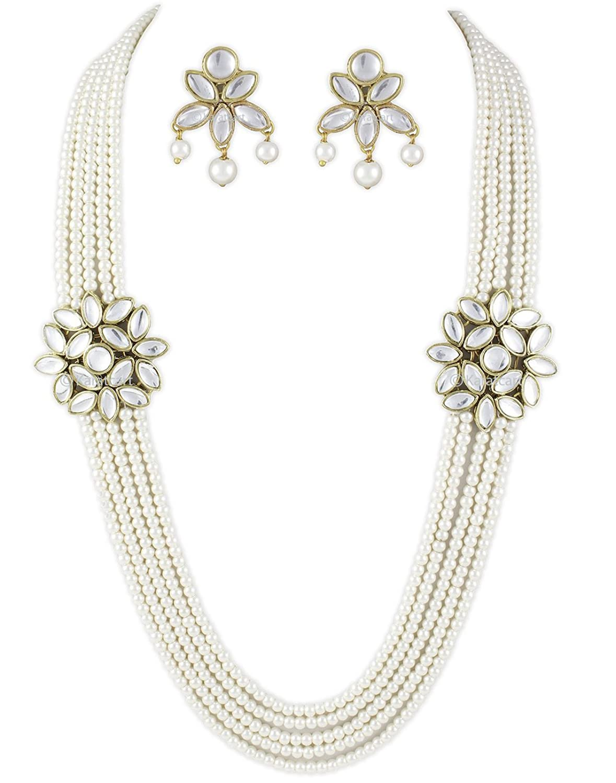 Buy Karatcart White 5 line Traditional Kundan Jewellery Set For ...