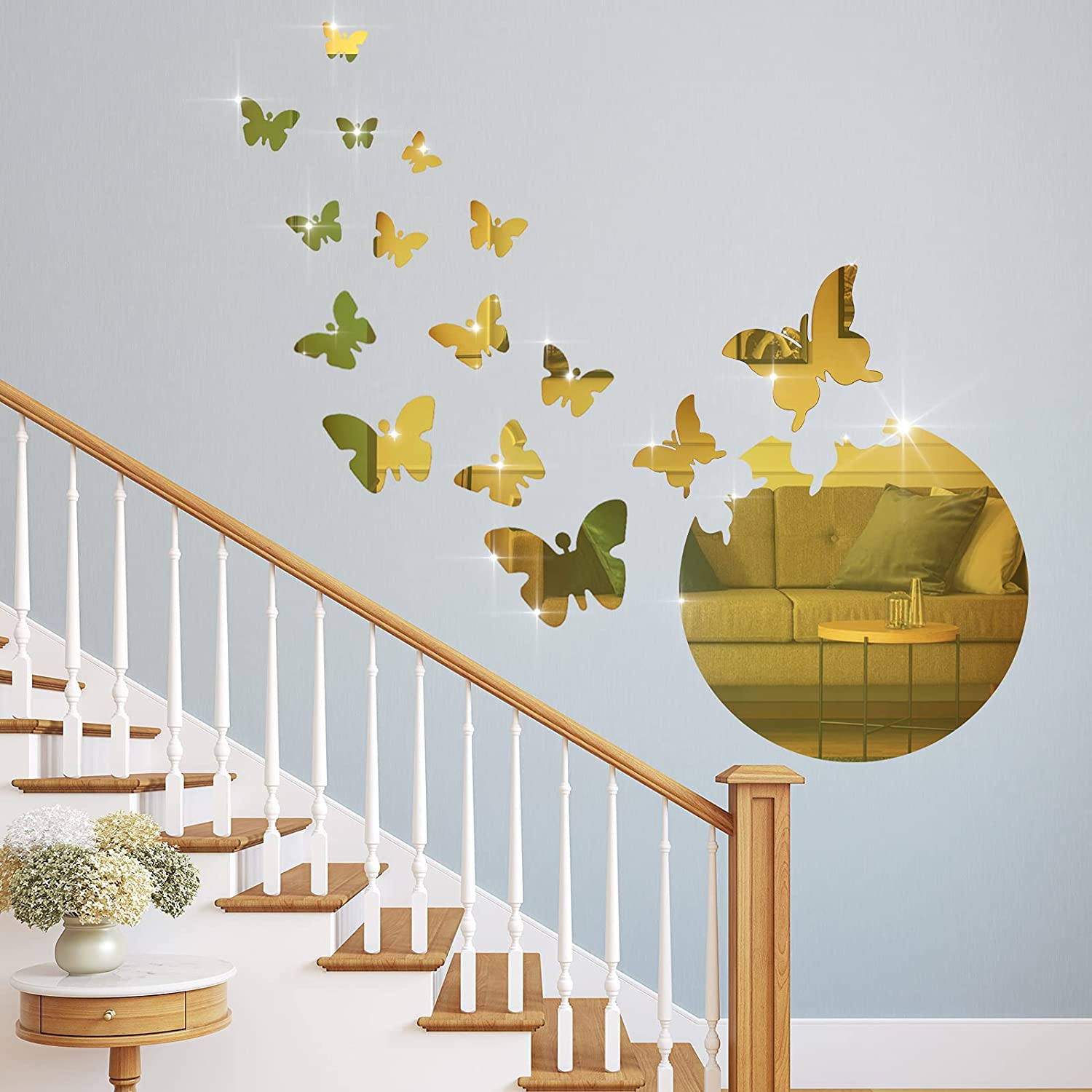 17 Pieces 3D Acrylic Mirror Wall Decor Stickers Removable Butterfly Mirror Wall Stickers DIY Mirror Butterfly Mural Stickers Butterfly Wall Stickers Decals for Home Living Room Bedroom (Gold)