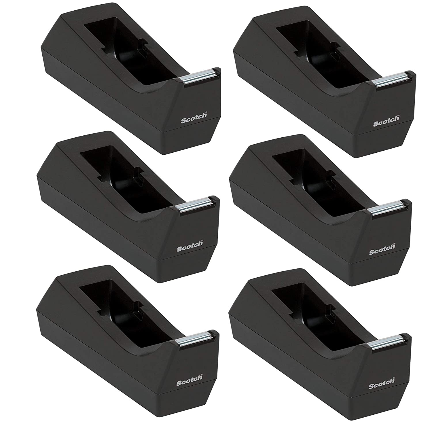Scotch Desk Tape Dispenser, 1in. Core, Black, 6 Pack