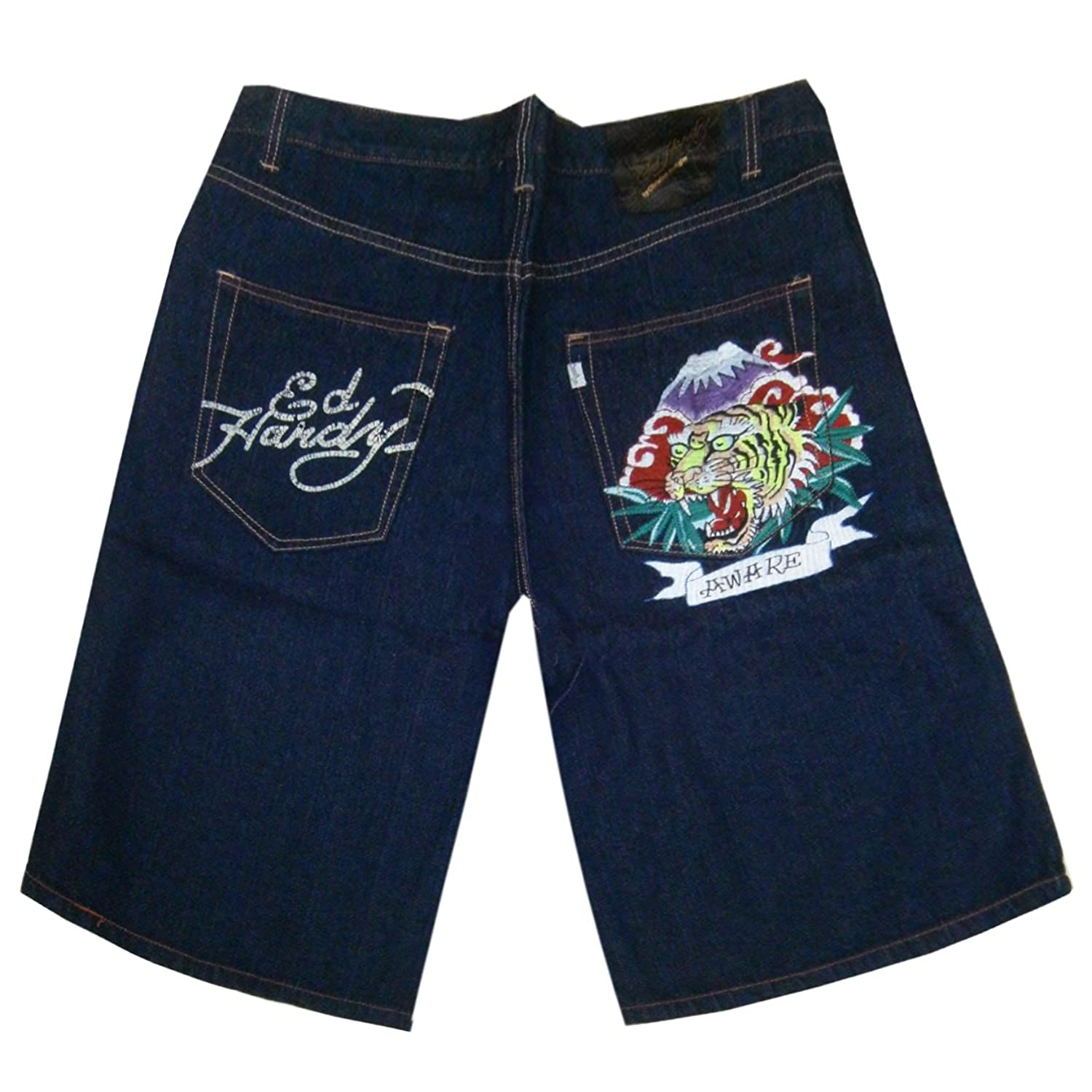 Ed Hardy Alive & Aware Tiger Denim Jean Shorts- Many Sizes