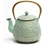 Tea Kettle, TOPTIER Japanese Cast Iron Teapot with Stainless Steel Infuser, Cast Iron Tea Kettle Stovetop Safe, Leaf Design T