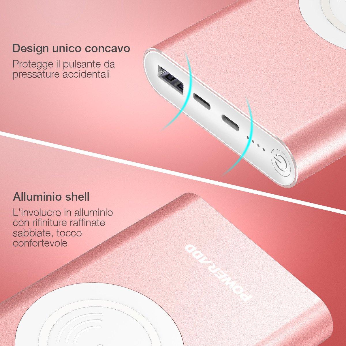 POWERADD Caricabatterie portatile Senza fili 10000mAh powerbank wireless Entrata di Lightning e di USB-C, 2 uscite per iPhone X/8, Samsung Galaxy S9/S8/S7/Note 8 e tanti altri (Cavo di Lightning e di USB-C sono inclusi)