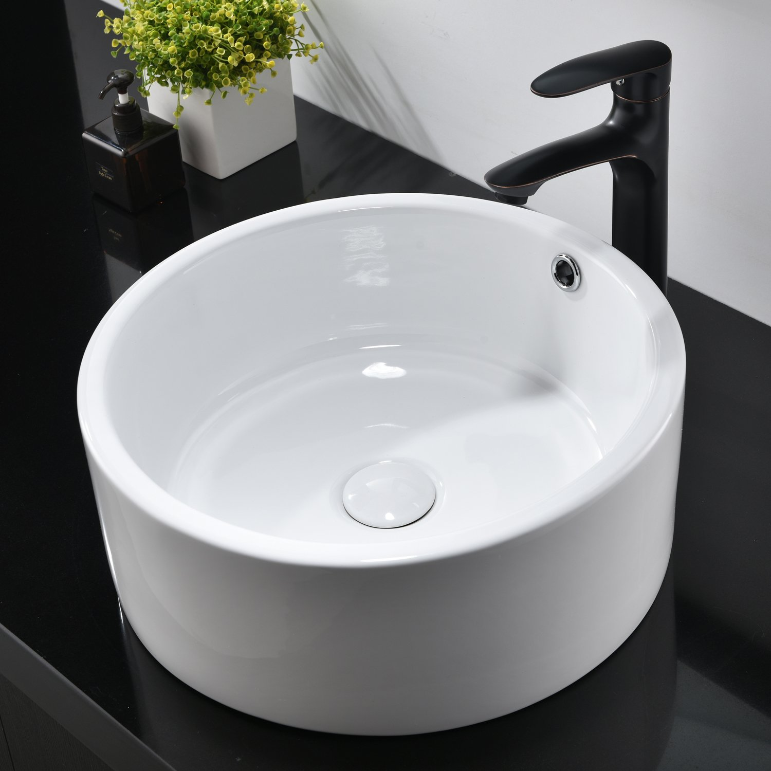Hotis White Porcelain Ceramic Countertop Bowl Lavatory Round Above Counter Vanity Bathroom Vessel Sink by HOTIS HOME (Image #3)