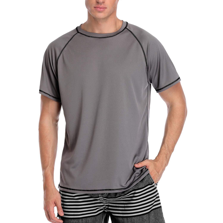 V FOR CITY Mens Lightweight SPF Shirts UPF 50 Sports Rashgaurd Solid Grey M by V FOR CITY