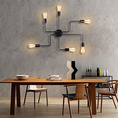 T A Black 6 Lights Sputnik Chandelier Semi Flush Mount Ceiling Light,Modern Industrial Style Lighting Fixture for Kitchen Dining Room