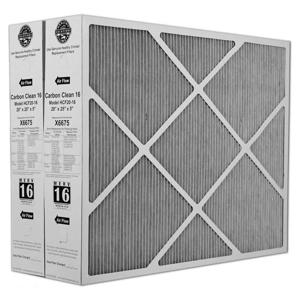 "Heating, Cooling & Air Lennox X6675 Carbon Clean 16 MERV 16 Filter 20"" x 25"" x 5"" (2 Pack)"