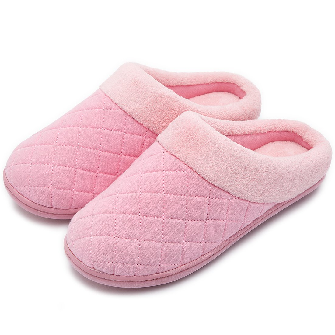 Women's Comfort Quilted Memory Foam Fleece Lining House Slippers Slip On Clog House Shoes (Medium / 7-8 B(M) US, Pink)