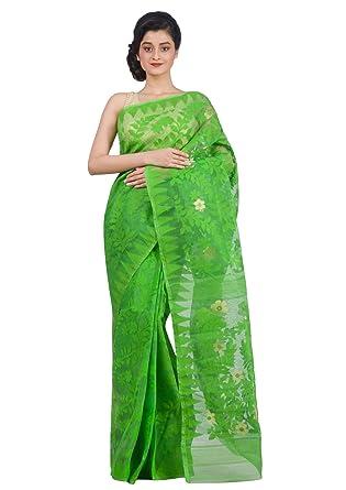 41dcb6377e Amazon.com: RLBFashion Women's Cotton Silk Handloom Dhakai Jamdani Saree ( Green): Clothing
