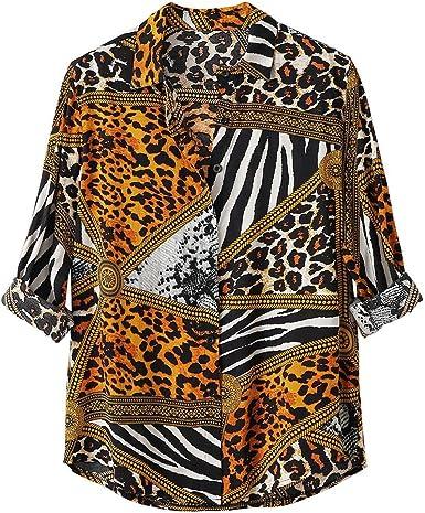 Yivise Camisa Casual Holgada de otoño para Hombre Blusa con Estampado de Leopardo Blusas de Manga Larga Blusa: Amazon.es: Ropa y accesorios