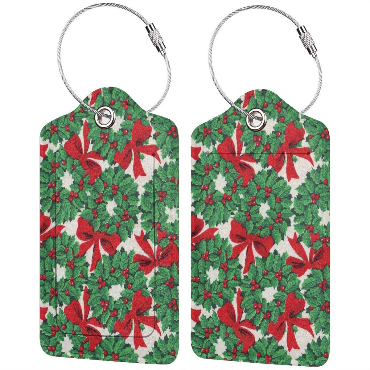 Leather Luggage Tags Full Privacy Cover and Stainless Steel Loop 1 2 4 Pcs Set Christmas Print Christmas Guys 2.7 x 4.6 Blank Tag Key Tags for Travel Suitcase Handbags Gift