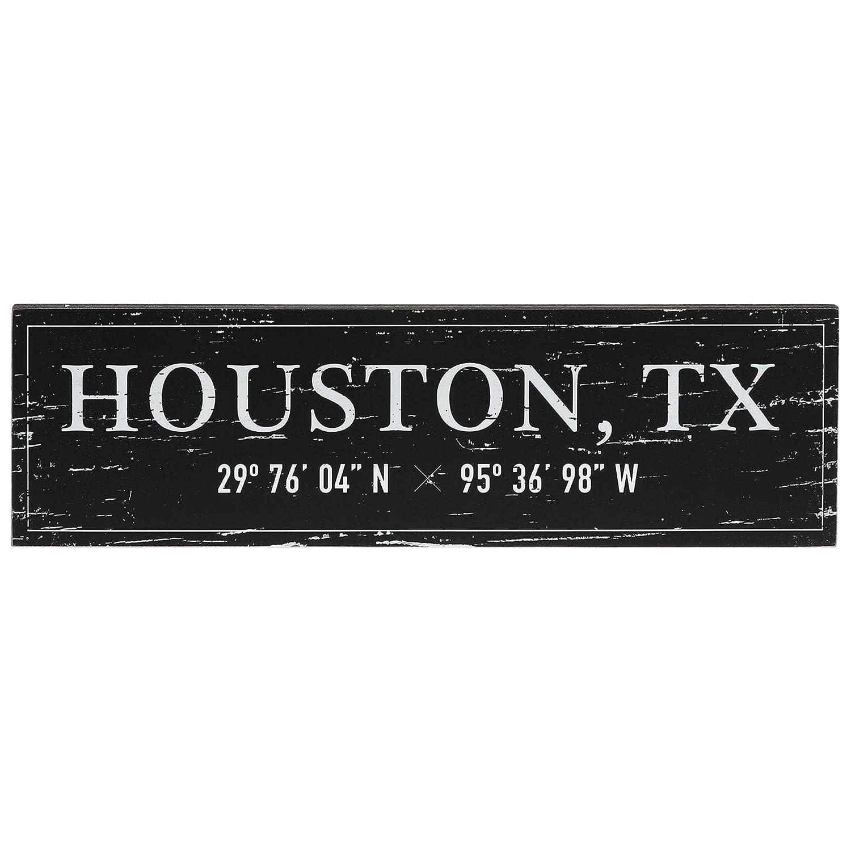 "Barnyard Designs Houston, TX City Sign Rustic Vintage Wood Wall Art Home Decor 17"" x 5"""