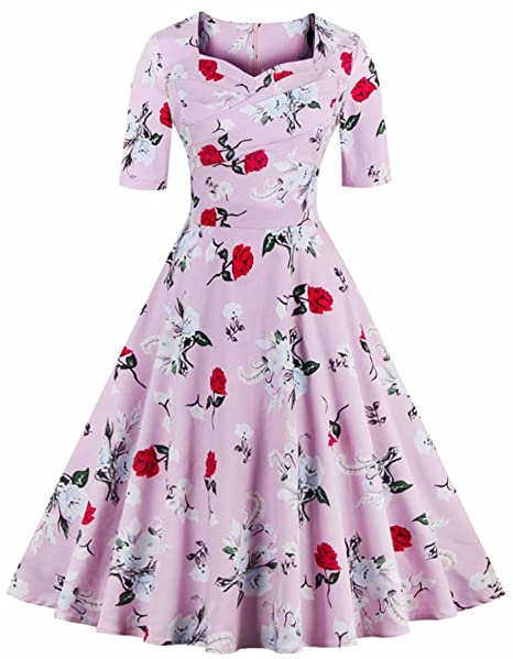 Rolanscia Mujeres 50s Vestidos Vintage Retro Rockabilly Imprimen Vestido Fiesta Cóctel Vestido Corto Rosa S