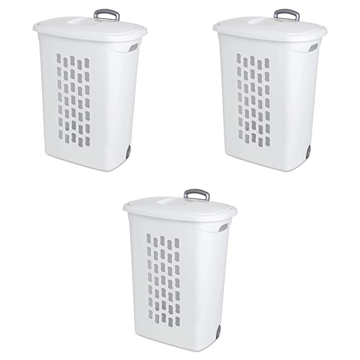 Sterilite 12228003 Ultra Wheeled Hamper, White Lid & Base w/ Titanium Handle & Wheels, 3-Pack