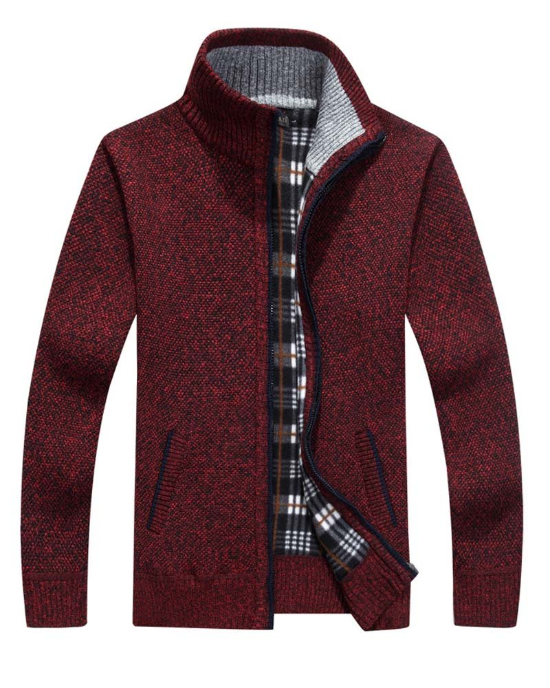 Vcansion Men's Loose Wool Zip up Cardigan Pullover Sweater Wine Red US XL/Asia 2XL by Vcansion