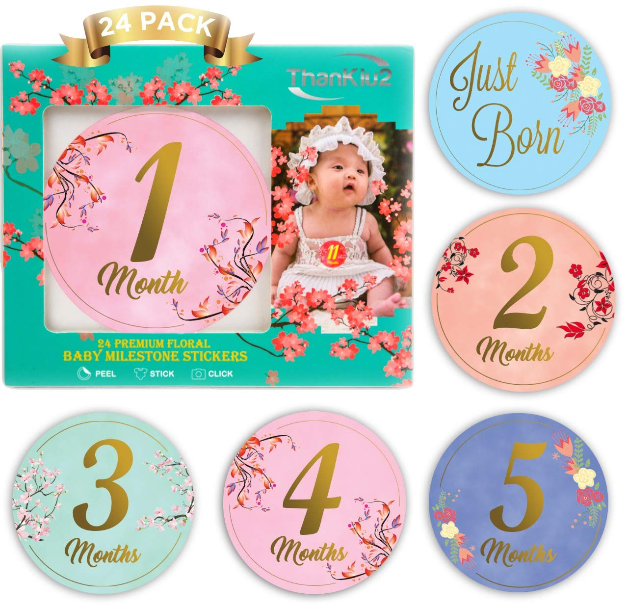 Baby Monthly Stickers-24 Floral Milestone Stickers with Shiny Metallic Gold Letters for Newborns | Celebrate 0-12 Months, Babys First Year Birthday, & Holidays | Awesome Baby Shower Gift -by ThanKiu2