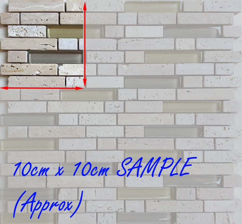 10x10cm sample Mosaic Tiles Glass Stone Beige Cream Brown MT0001 Grand Taps