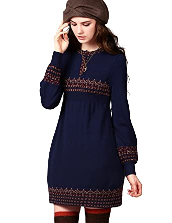 9e9593e7155 Artka F W Femmes Style Jacquard Pull Tricot Robe Taille Empire - Bleu - M