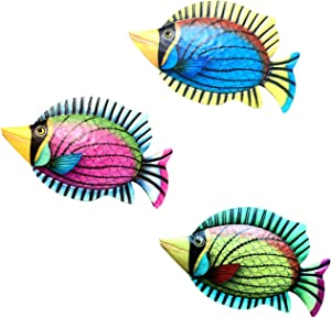 Funlive Set of 3 Metal Fish Wall Decor, Colorful Fish Art Wall Hanging for Indoor Outdoor Home Bedroom Office