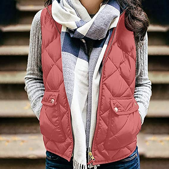❤ Chaleco de Invierno para Mujer, Chaleco sin Mangas para Mujer Chaleco de algodón sólido con Capucha Chaleco Suelto de Invierno Abrigo Suelto Absolute: ...