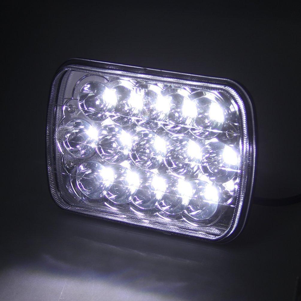 CZJUN 5 x 7 7x6 Inch Rectangular LED Headlights for Jeep Wrangler YJ Cherokee XJ Comanche MJ Grand Wagoneer Chevrolet GMC Dodge H5054 H6054LL 69822 6052 Trucks 4X4 Offroad Headlamps Replacement