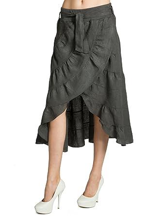 1106b84d4e6f CASPAR RO017 Leichter Langer Damen Leinenrock Sommerrock    Maxirock Zigeunerrock, Farbe dunkelgrau