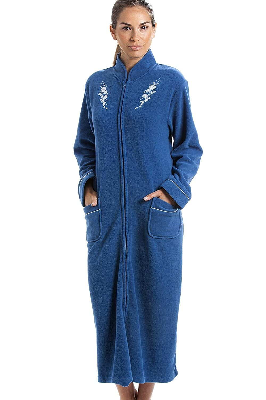 Camille Womens Soft Warm Fleece Blue Zip Up Front Housecoat