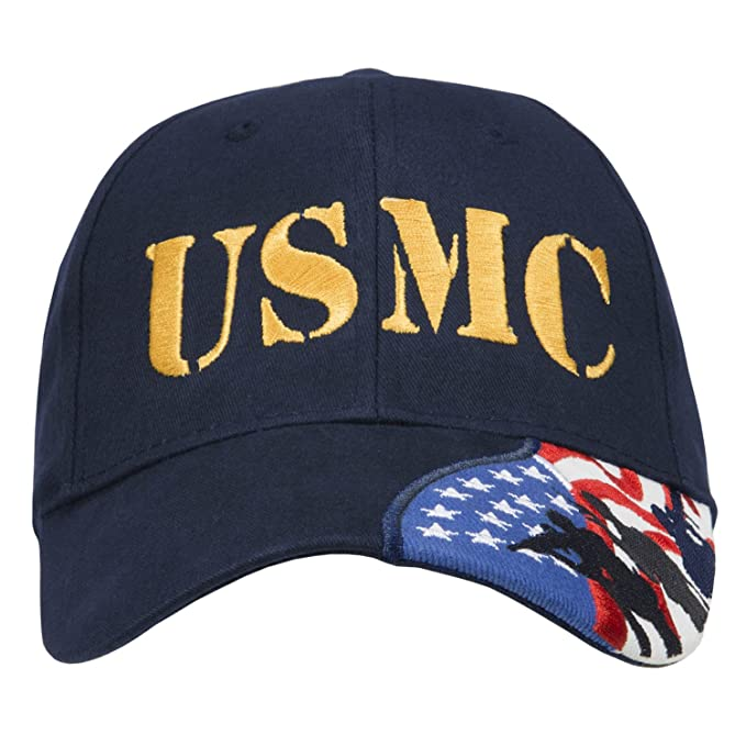 9da5cf48566 Army Force Gear Marine Corps USMC Embroidered Baseball Cap Hat with  American Flag 100% Cotton