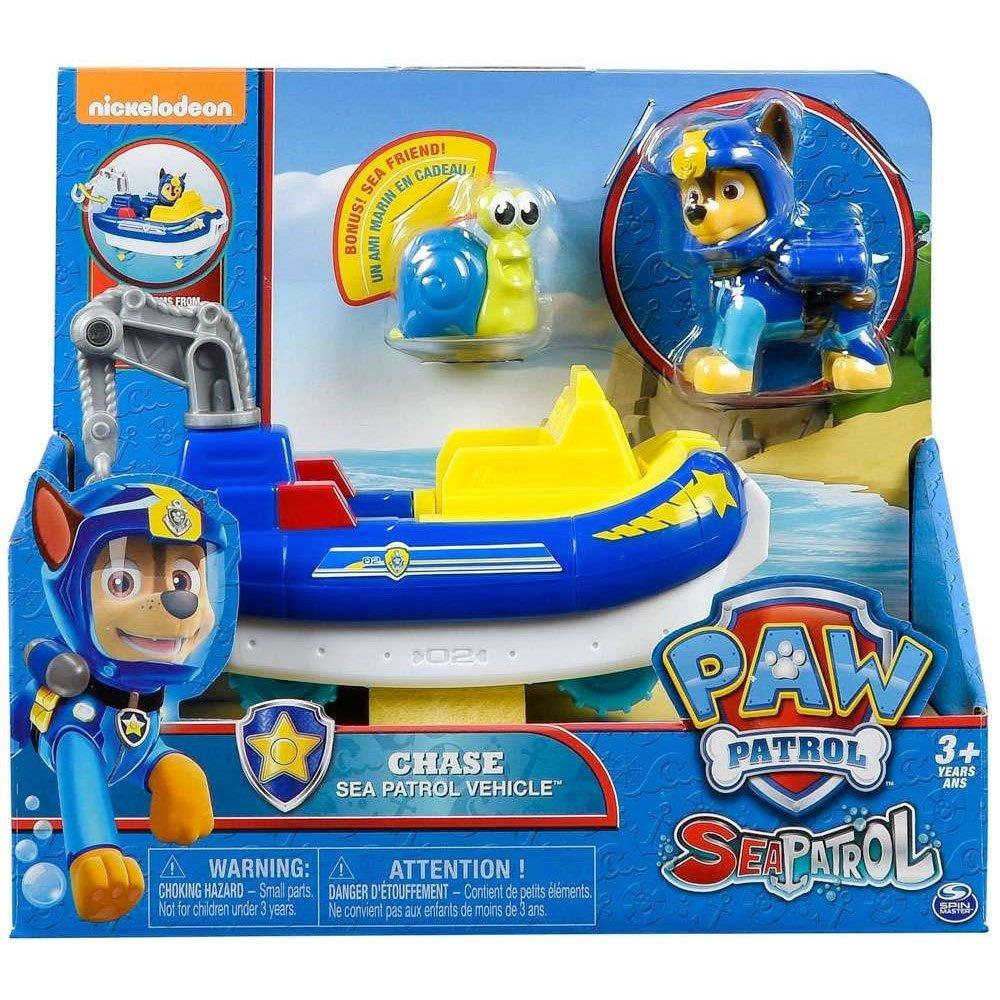 Paw Patrol Spinmaster – 6038284 Sea Patrol – Chase – Spielset mit Fahrzeug, Action Pup Spielfigur und Tierfreund Spin Master
