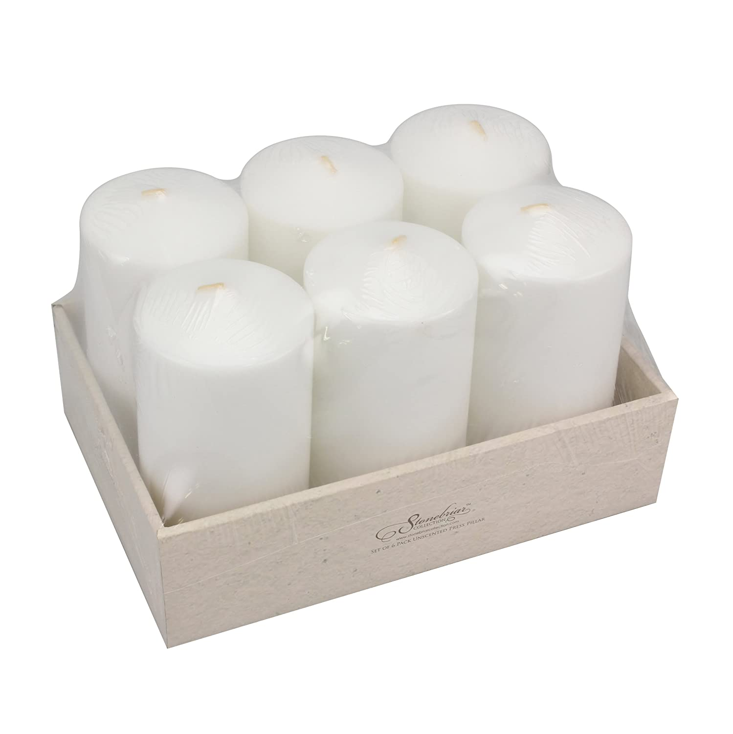 Stonebriar Tall 3 x 6 Inch Unscented White Pillar Candle Set, Candle Decor for Lanterns, Hurricanes, and Centerpieces, Set of 6 CKK Home Décor SB-SP-3209A