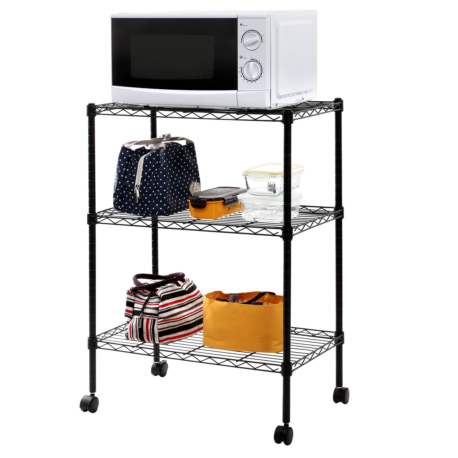 3-Tier Rolling Storage Rack Cart Utility Microwave Wire Shelving ...