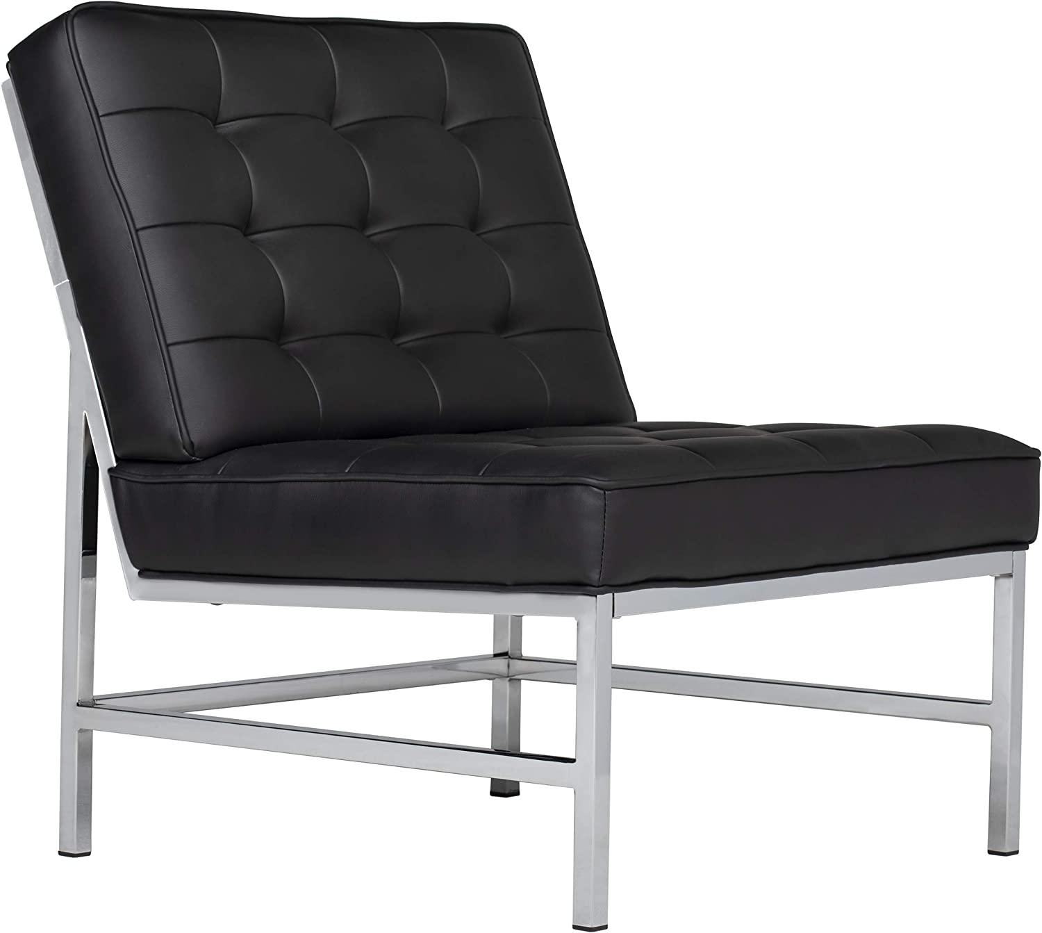 Studio Designs Home Ashlar Slipper, Accent Chair in Black Bonded Leather and Chrome Metal