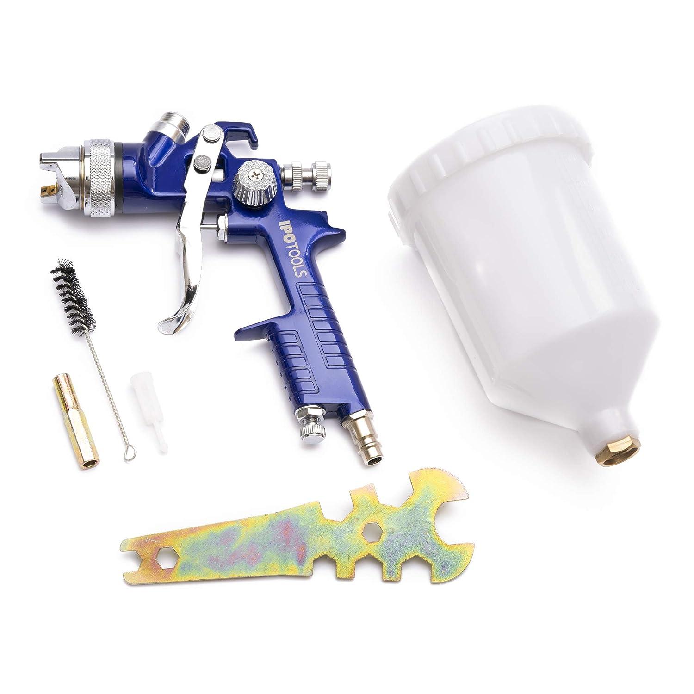 Pistola Pulverizadora Pintura HVLP H-827P IPOTOOLS - Pistola Pintura Compresor - Sistema de Pistola de Pintar Profesional con Vaso de Plástico de 600 ml y ...