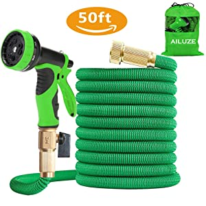 """AILUZE 50ft Garden Hose - All New Expandable Garden Water Hose Pipe with Double Latex Core,3/4"""" Solid Brass Fittings,Extra Strength Fabric - Flexible Expanding Hose with 9 Function Spray Gun"""