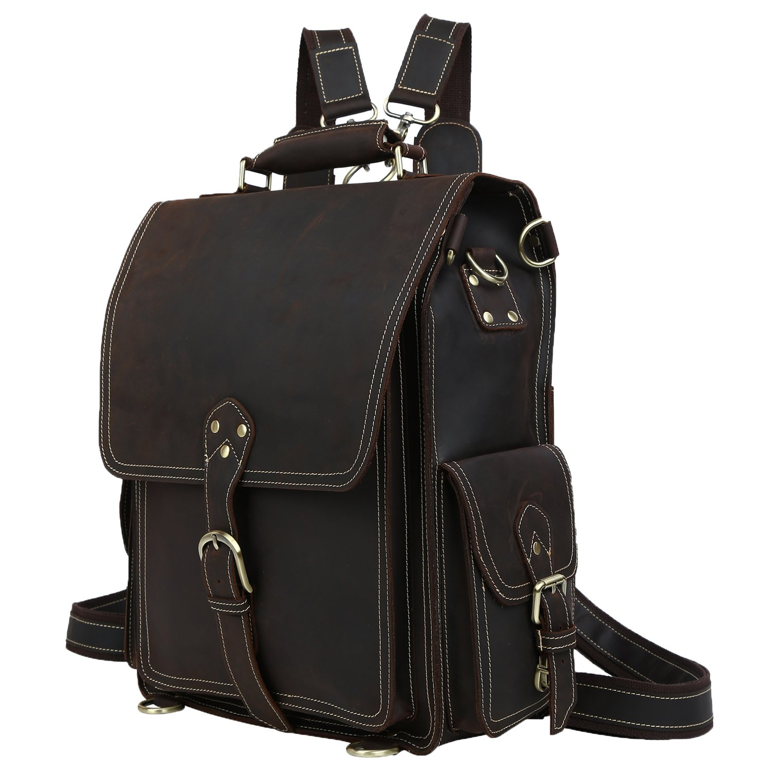 Polare Men's Vintage Full Grain Leather Satchel Backpack Shoulder Bag Messenger Bag
