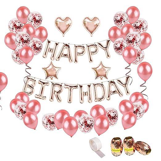 Juego de 44 globos de oro rosa para fiesta de cumpleaños ...