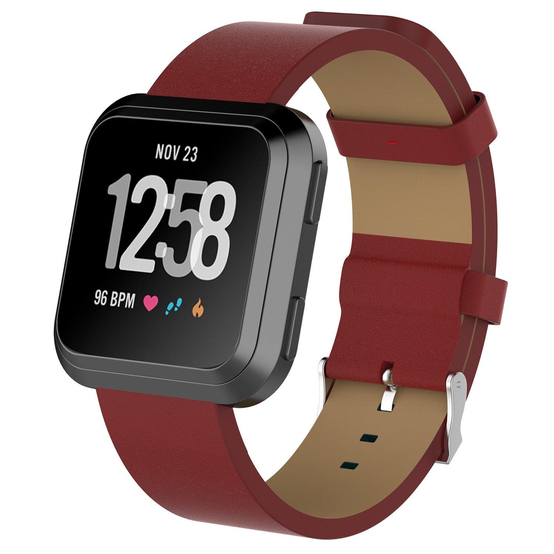 yocktec Fitbit Versaレザーバンド、ソフト本革キャンバスWristbands交換用ストラップwithクロームバックルクリップfor Fitbit Versaスマート腕時計 – レディースメンズ B07BPRCQVK レッド