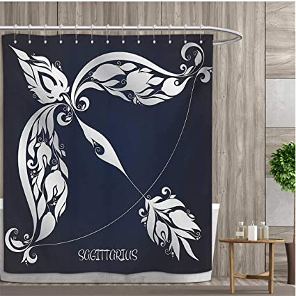 Smallfly Zodiac Shower Curtains With Hooks Astrology Sign Sagittarius Flower Images Planetary Impacts On