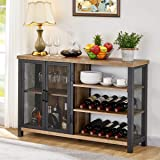 BON AUGURE Industrial Bar Cabinet for Liquor and Glasses, Rustic Wood and Metal Wine Rack Table, Accent Sideboard Buffet…