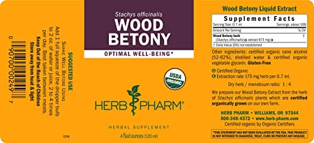 Herb Pharm Certified Organic Wood Betony Liquid Extract – 4 Ounce
