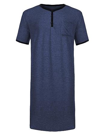 Skione Herren Schlafanzug V-Ausschnitt Nachthemd Kurz Männer Pyjama ...