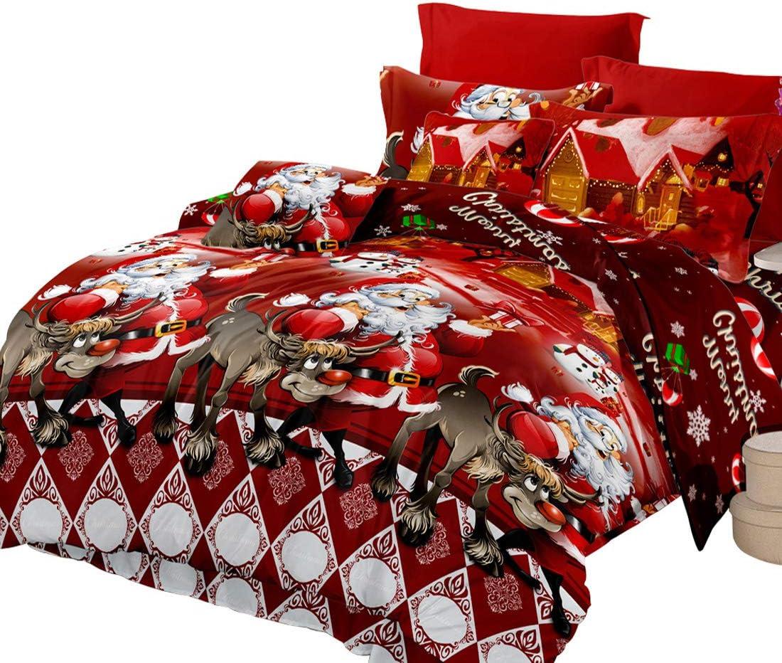 Oliven 4 Pieces 3D Christmas Bedding Set King Size Cartoon Santa Claus Duvet Cover Flat Sheet Standard Pillowcases-Red,Christmas Home Decor
