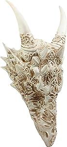 Ebros Large Gothic Tribal Stencil Tattoo Design Bone Color Horned Dragon Head Skull Wall Decor Or Desk Statue 14.75